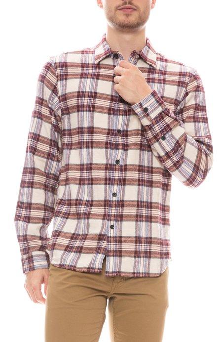 Alex Mill Plaid Patch Pocket Flannel Shirt - Burgundy/Ivory