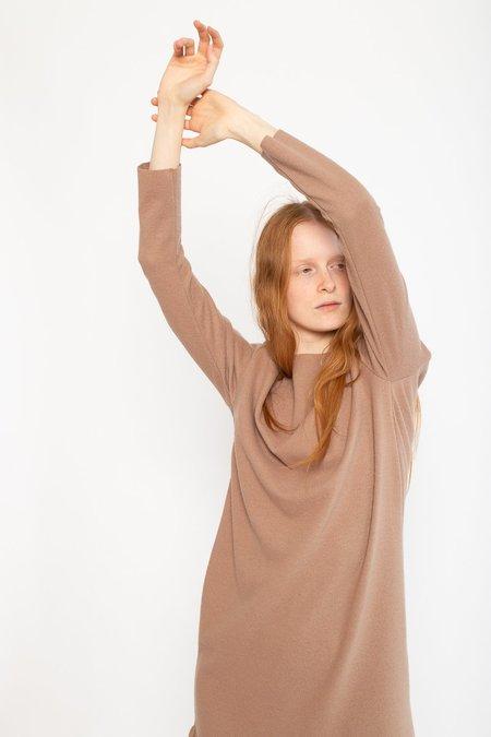 Black Crane Wool/Nylon Bouquet Dress - Camel