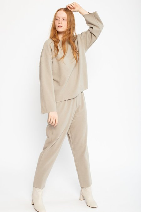 Black Crane Wool/Nylon Easy Pant - Ash