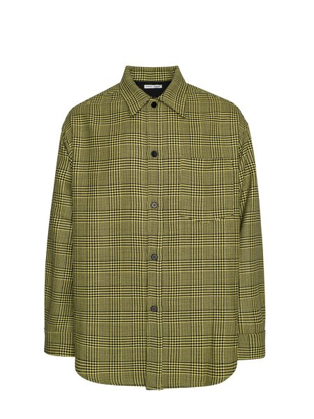CMMN SWDN Sergey Woven Heavy Wool Oversized Shirt Jacket - Yellow Check
