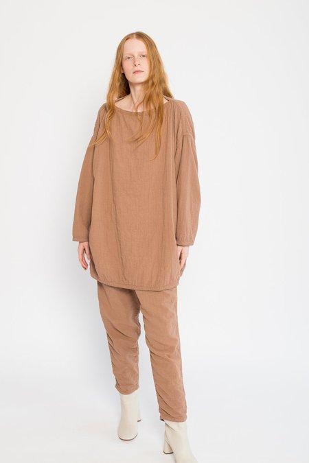 Black Crane Cotton/Linen Loose Pullover - Camel