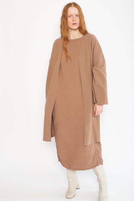 Black Crane Wool/Nylon No Collar Jacket - Camel