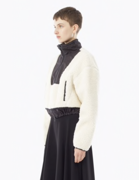 3.1 Phillip Lim Cropped Faux Shearling Bomber Jacket - NATURAL