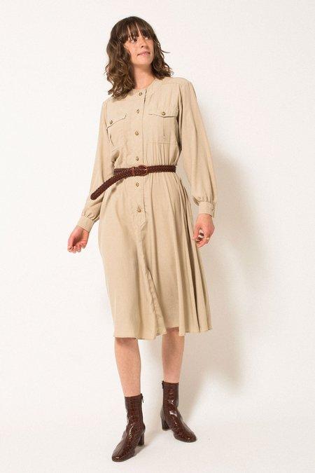 Vintage Preservation Midi Dress - Tan