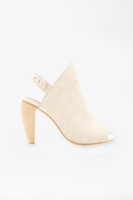 The Acey Cork High Sandal with Wooden Heel - Natural
