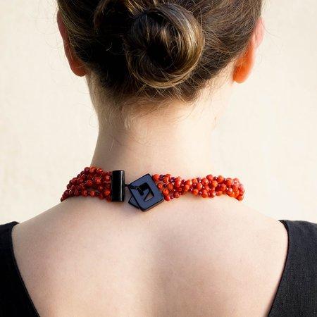 Eva Nueva Multi-Strand Coral Necklace With Red Jade