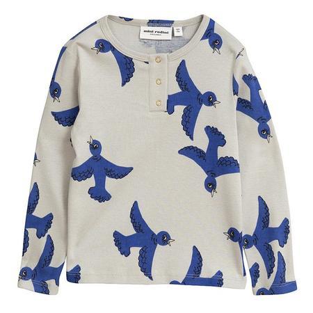 KIDS Mini Rodini Long Sleeved Grandpa T-shirt With Flying Birds Print - Light Grey