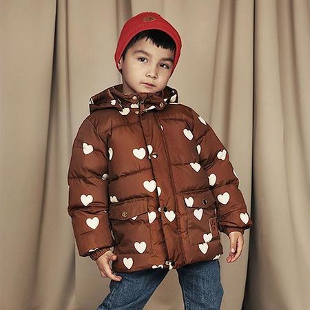 KIDS Mini Rodini Winter Puffer Jacket With Hearts Print - Brown