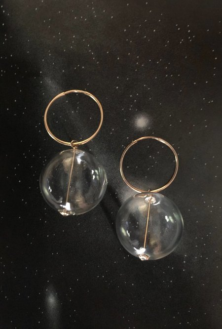 Ak Studio Visionary Earrings - 14K Gold/Clear Blown Glass