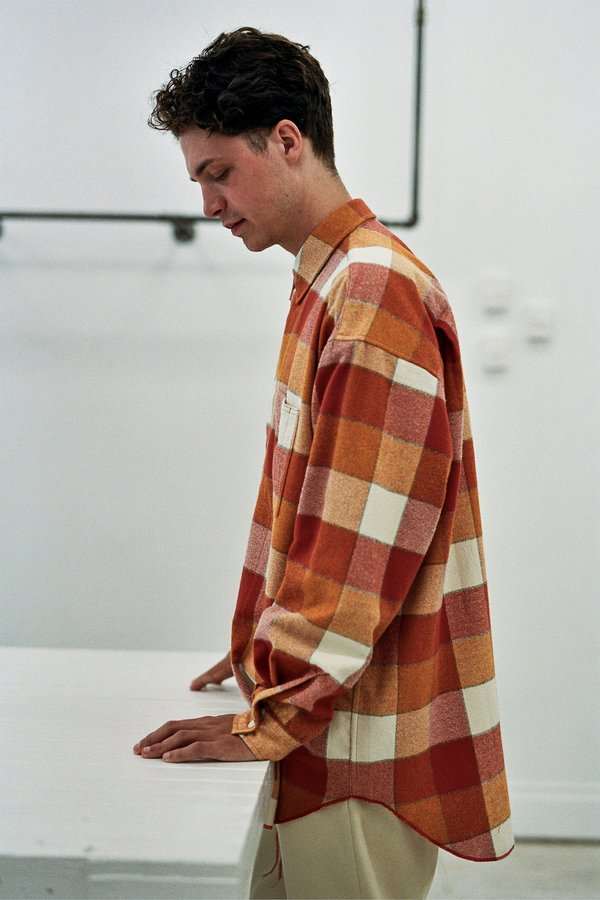 s.k. manor hill Ox Plaid Flannel Shirt - Orange