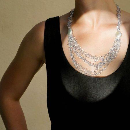 Eva Nueva Beaded Necklace with Pearls - Sky Blue/White Topaz