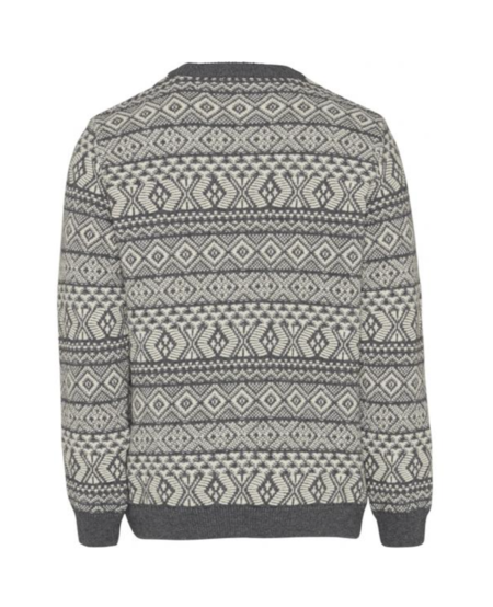 Knowledge Cotton Apparel Two Colored Jacquard O-neck Knit - Dark Grey Melange