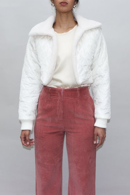W A N T S Quilted Cropped Jacket - White