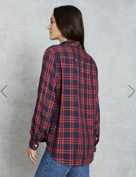 Frank & Eileen Eileen Double Grid Italian Modal Shirt - Navy/Red