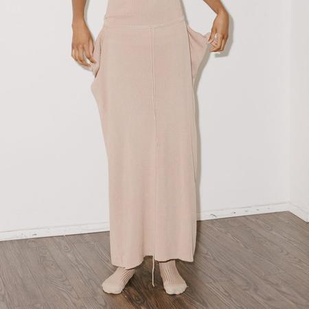 Baserange Nida Skirt Silk Rib - Gravel Beige