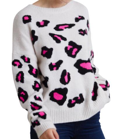 Autumn Cashmere Leopard Crew - Chalk Pink
