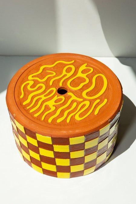 GABO MARTINI Large Terracotta Checkered Planter - Yellow