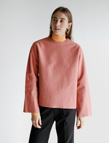 Auralee Super Milled Cut Off Sweatshirt - Pink Red