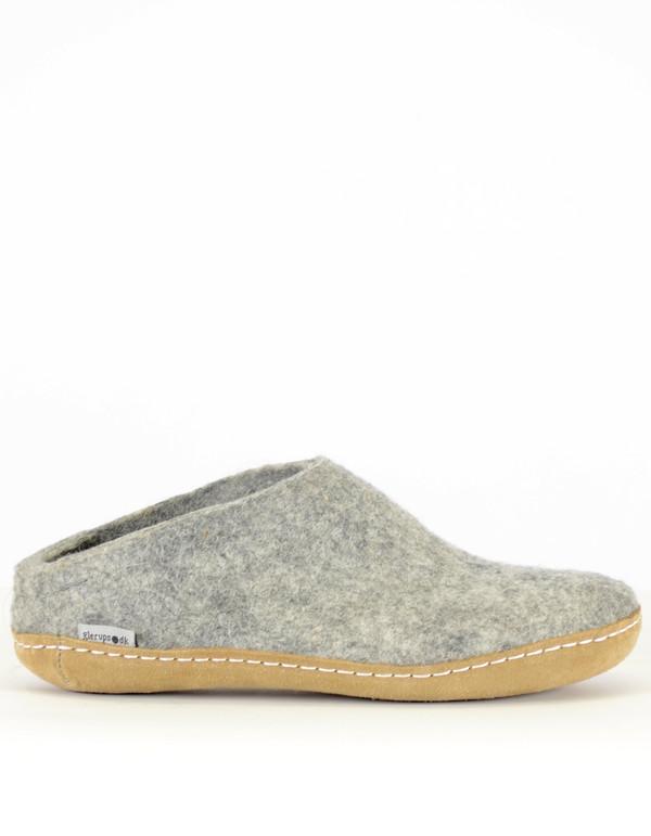 8c57405eb4b Glerups Men s Wool Slipper Leather Sole Grey