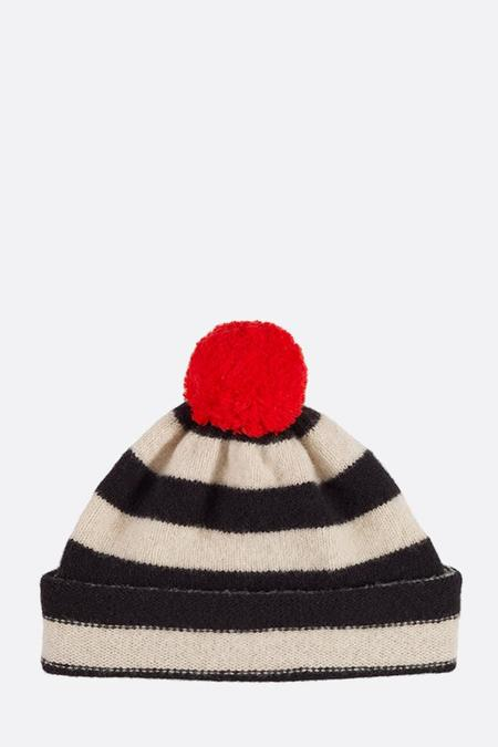 Jo Gordon Striped Pompom Hat - Black/Oatmeal