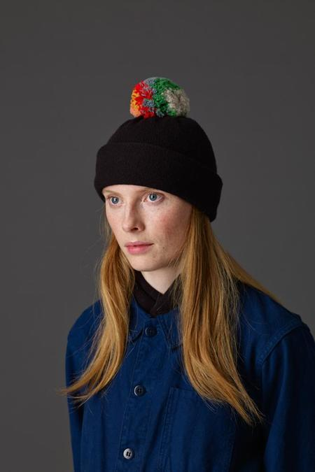 Jo Gordon Shaggy Pompom Hat - Black