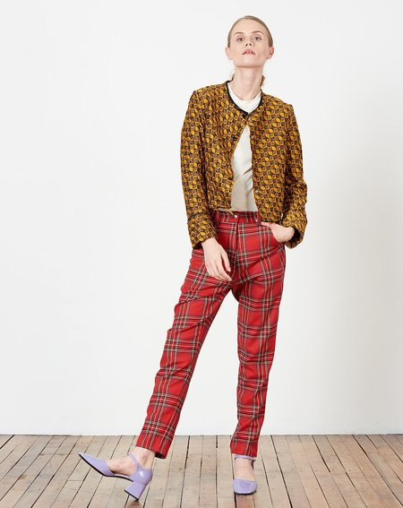 Suzanne Rae Cropped Snap Front Jacket - Mustard/Brown Geometric Jacquard