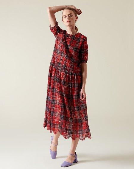 Suzanne Rae Pintuck Dress - Plaid Lace