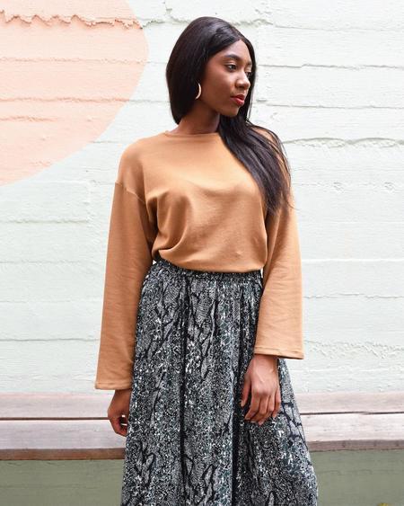 Corinne Collection Back Pleat Sweatshirt - Camel
