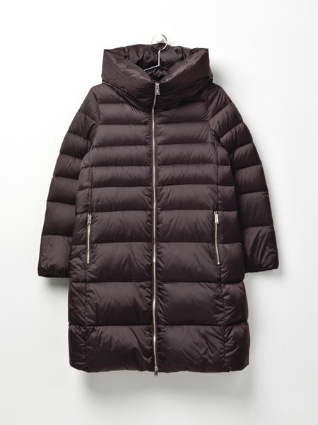 Add Down Hooded Down Long Coat - Ebony