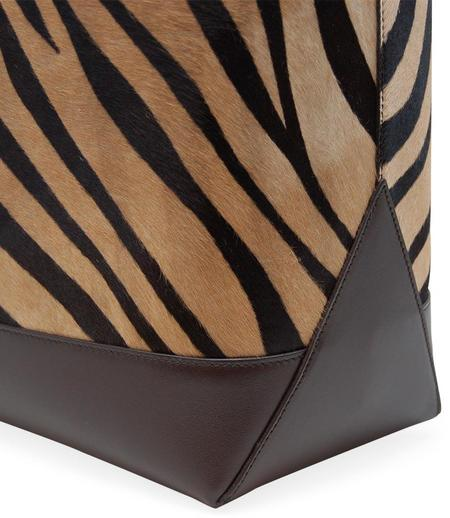 Giulia Maresca Bianca Leather Shopping Tote - Zebra/Brown