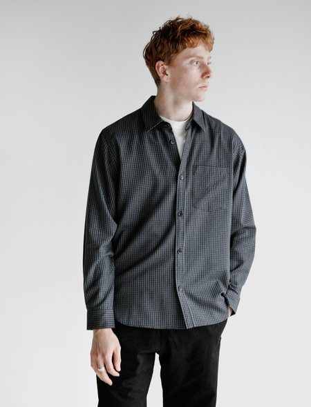 Margaret Howell Minimal Gingham Cotton Cashmere Shirt - Grey