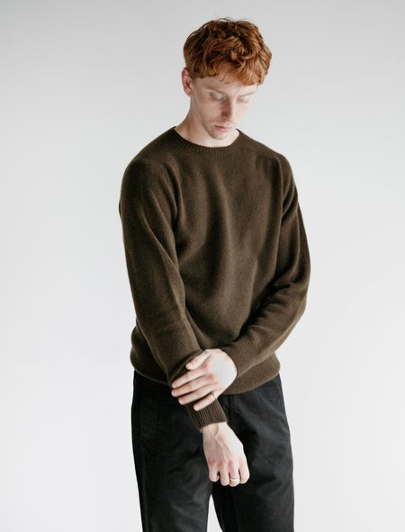 Margaret Howell Saddle Neck Crew Merino Cashmere Sweater - Military Green