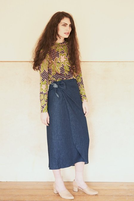 Elise Ballegeer Hemp Tala Wrap Skirt - Denim