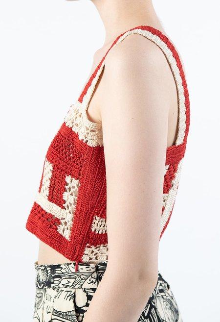 Rachel Comey Snapper Top - Red/Ivory