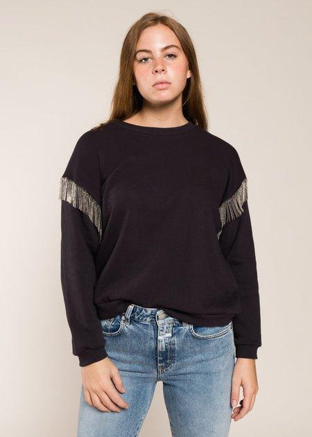 LnA Chain Fringe Sweatshirt - Black Limo