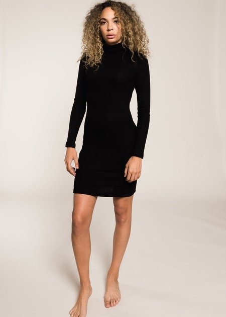 LnA Zip Turtleneck Dress - Black