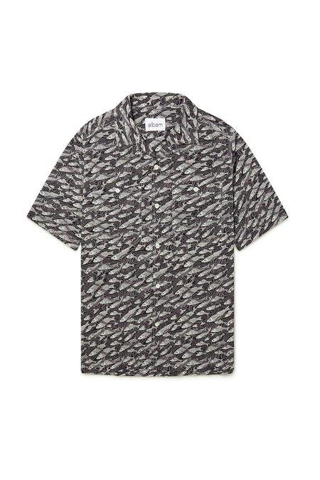 ALBAM Revere Collar Short Sleeve Shirt, Liberty Fish Grey