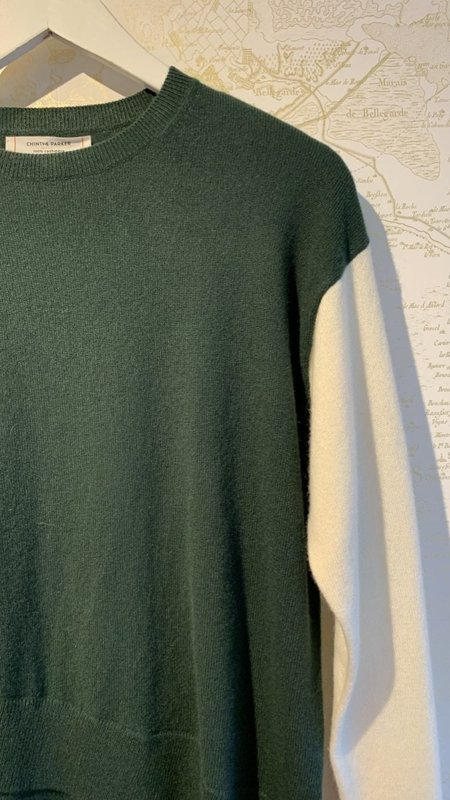 Chinti and Parker Cross Front Hem Cashmere Sweater - Green