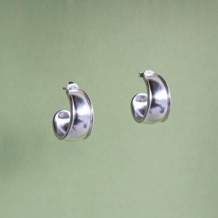 Noon Jewellery mini border hoops - silver