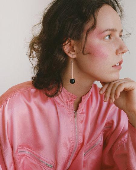 Noon Jewellery twin pearl + lucite drop earrings - silver
