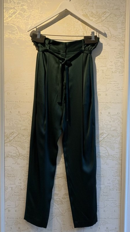 Michelle Mason Silk Charmeuse Paperbag Cropped Trouser - Forest Green