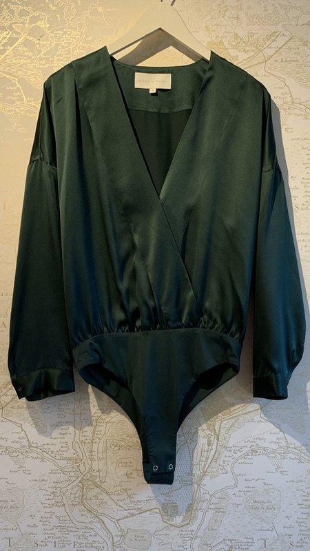 Michelle Mason Silk Oversized Bodysuit Blouse - Forest Green