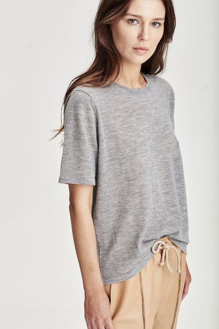 Laing Home Featherweight Cashmere Tee - Silver Marle