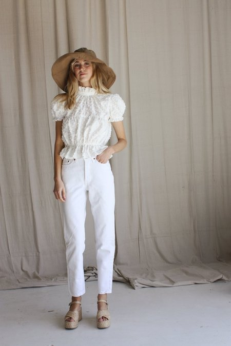 Beach Knickers Lady Isla Top - Flocked Spot White