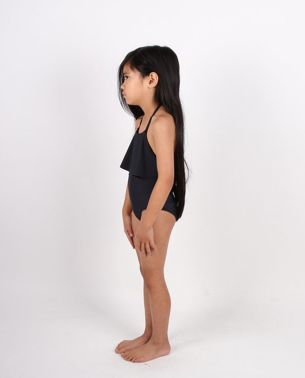 KIDS Feather Drum FLOUNCE ONE-PIECE - OFF BLACK