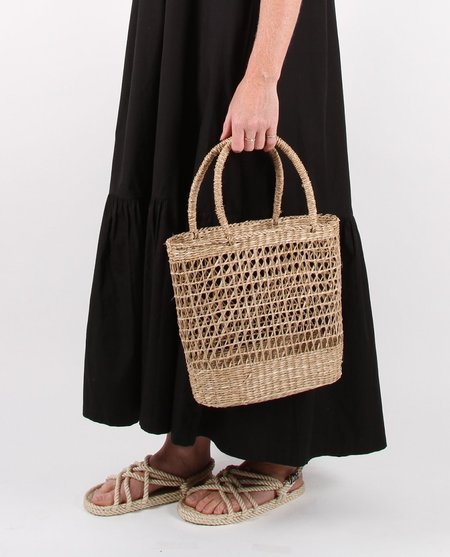 Feather Drum Handwoven Straw Shopper - natural