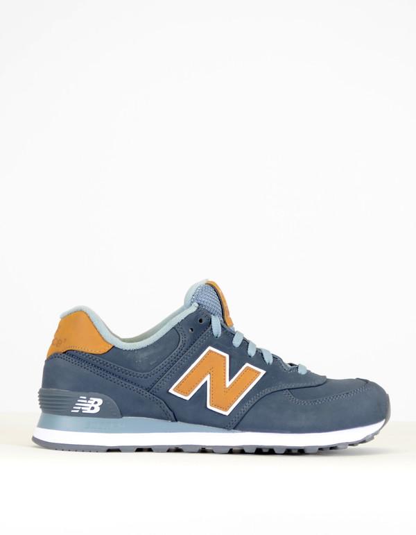 Balance 574 Sneaker Blue Gold   Garmentory