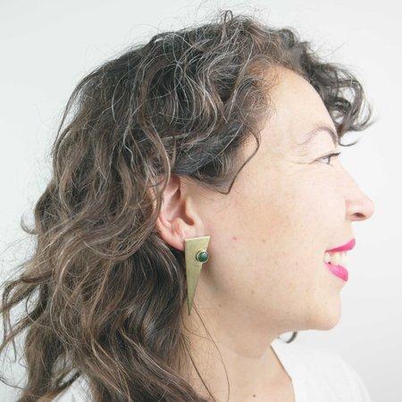 COSMIC TWIN Stranger Earrings - Brass/Jade