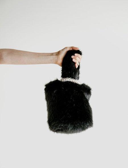 Shrimps Eva Furry Bag with Pearl Handle - Black