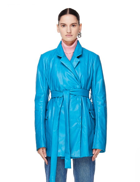 Isaac Sellam Reguliere Leather Down Jacket - Blue